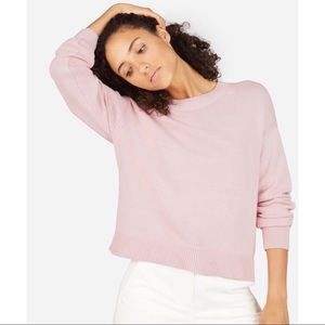 Everlane Cotton Long Sleeve Crewneck Pink Sweater